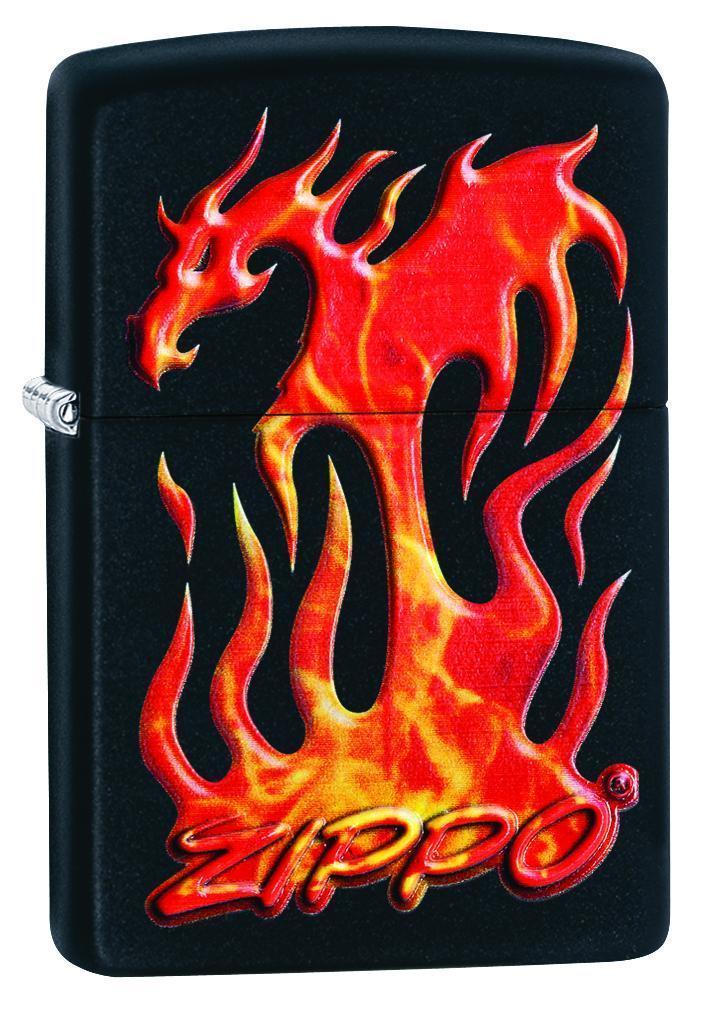 Зажигалка Zippo Flaming Dragon Design Black Matte фото