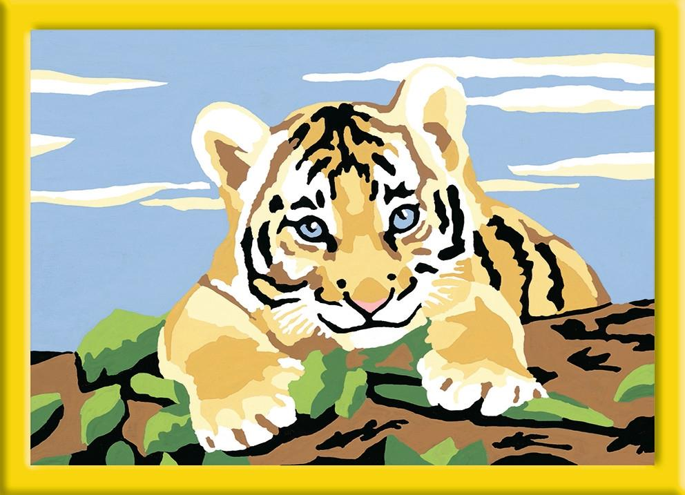 Раскрашивание по номерам «тигренок» размер картинки – 18*13 см