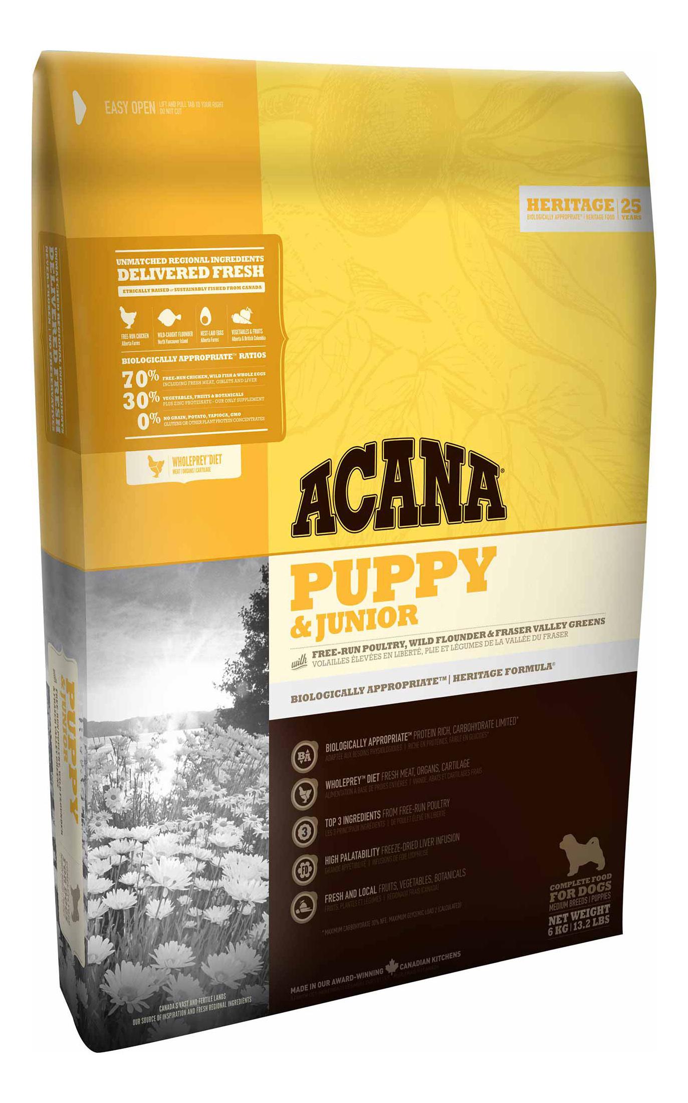 Сухой корм для щенков ACANA Heritage Puppy & Junior, цыпленок, 6кг фото