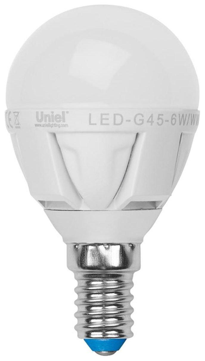 Лампа светодиодная (07905) E14 6W 3000K шар матовый LED-G45-6W/WW/E14/FR ALP01WH