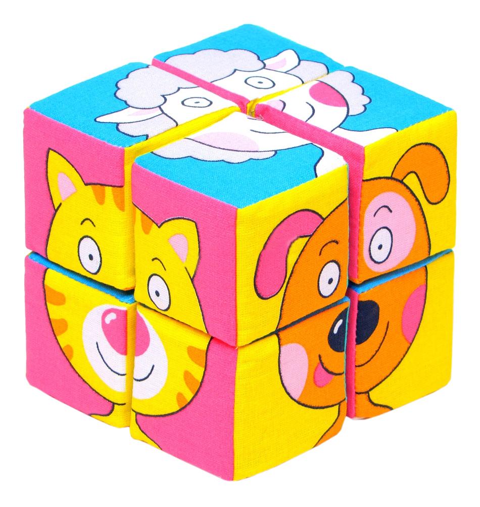 Купить Детские кубики Мякиши Набор из 8 кубиков Собери картинку Зверята , Развивающие кубики