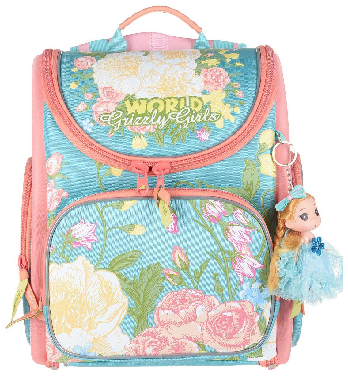 Рюкзак детский Grizzly RA-871-4 школьный с мешком голубой
