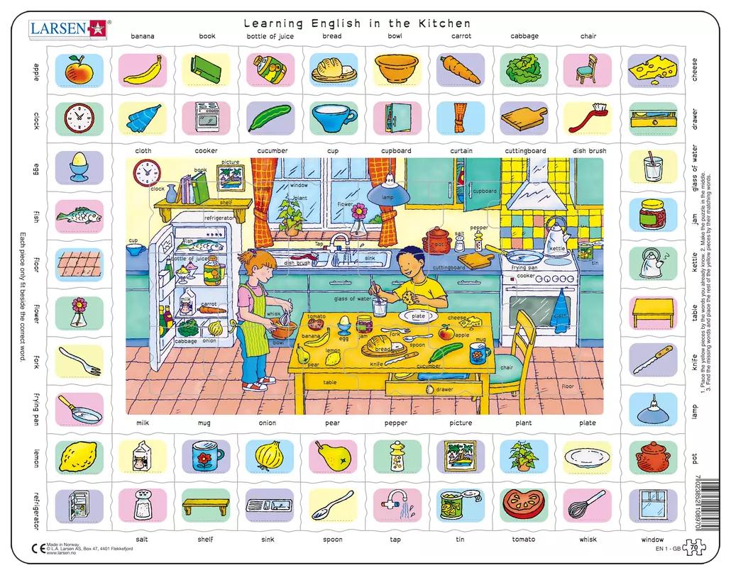 Купить Пазлы Larsen обучающий Изучаем английский 70 элементов EN1