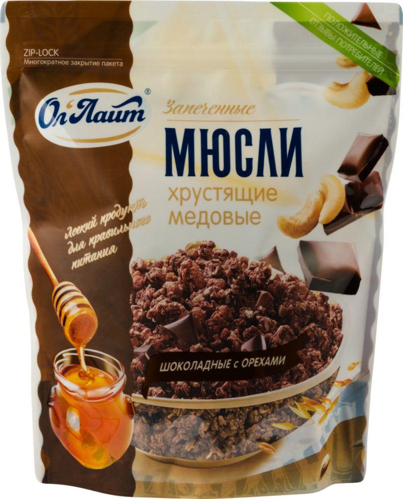 Мюсли запеченные  Ол\'Лайт хрустящие медовые шоколадные с орехами 280 г