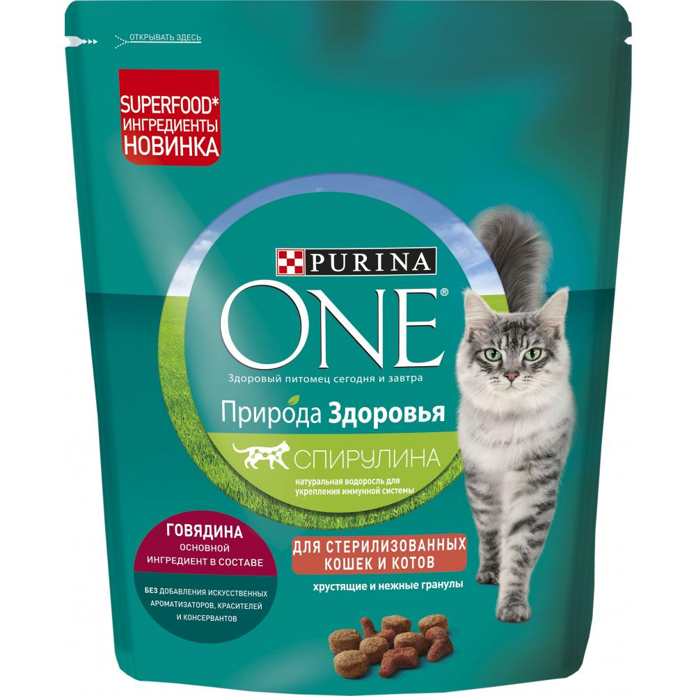 Сухой корм для кошек Purina One Природа здоровья, для стерилизованных, говядина, 180 г