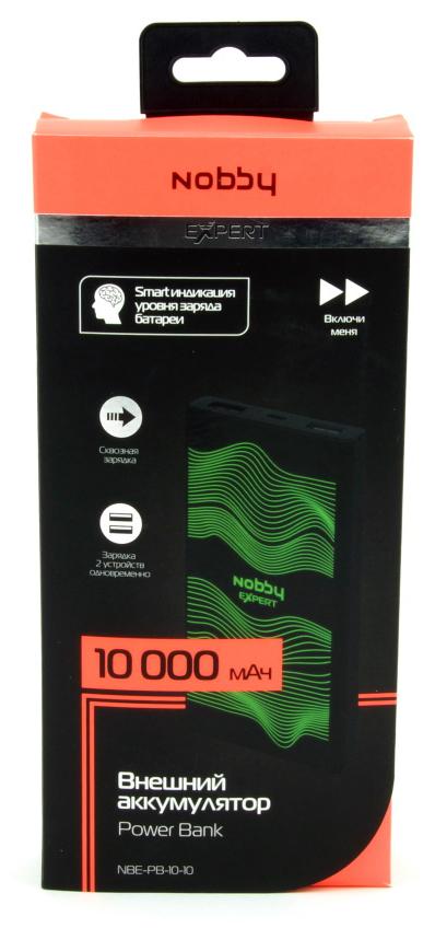 Внешний аккумулятор Nobby Expert 10000mAh Black (NBE-PB-10-10)  - купить со скидкой