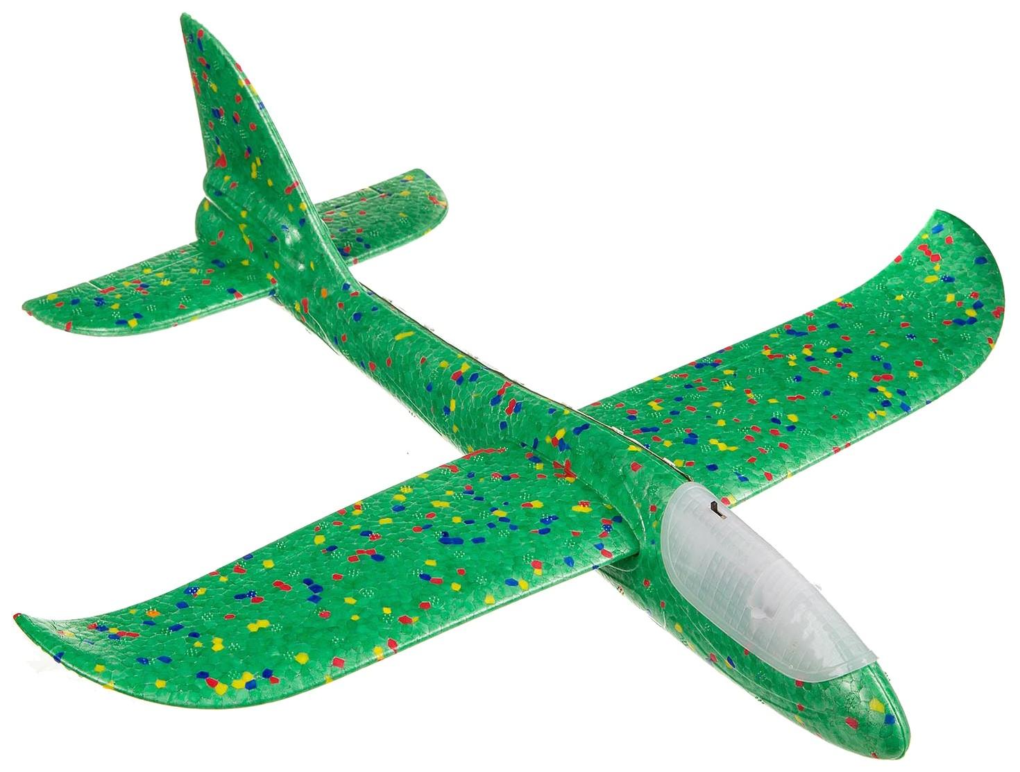 Метательный планер Bondibon «ВЕТЕР», 36х38 см, подсветка всего самолета,HEADER 46х5х14 фото