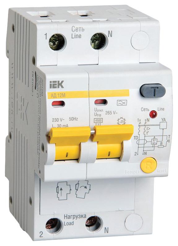 Выключатель автоматический АД-12М, 2 п, 16 А, 30 мА, А, 4,5 кА, MAD12-2-016-B-030 фото