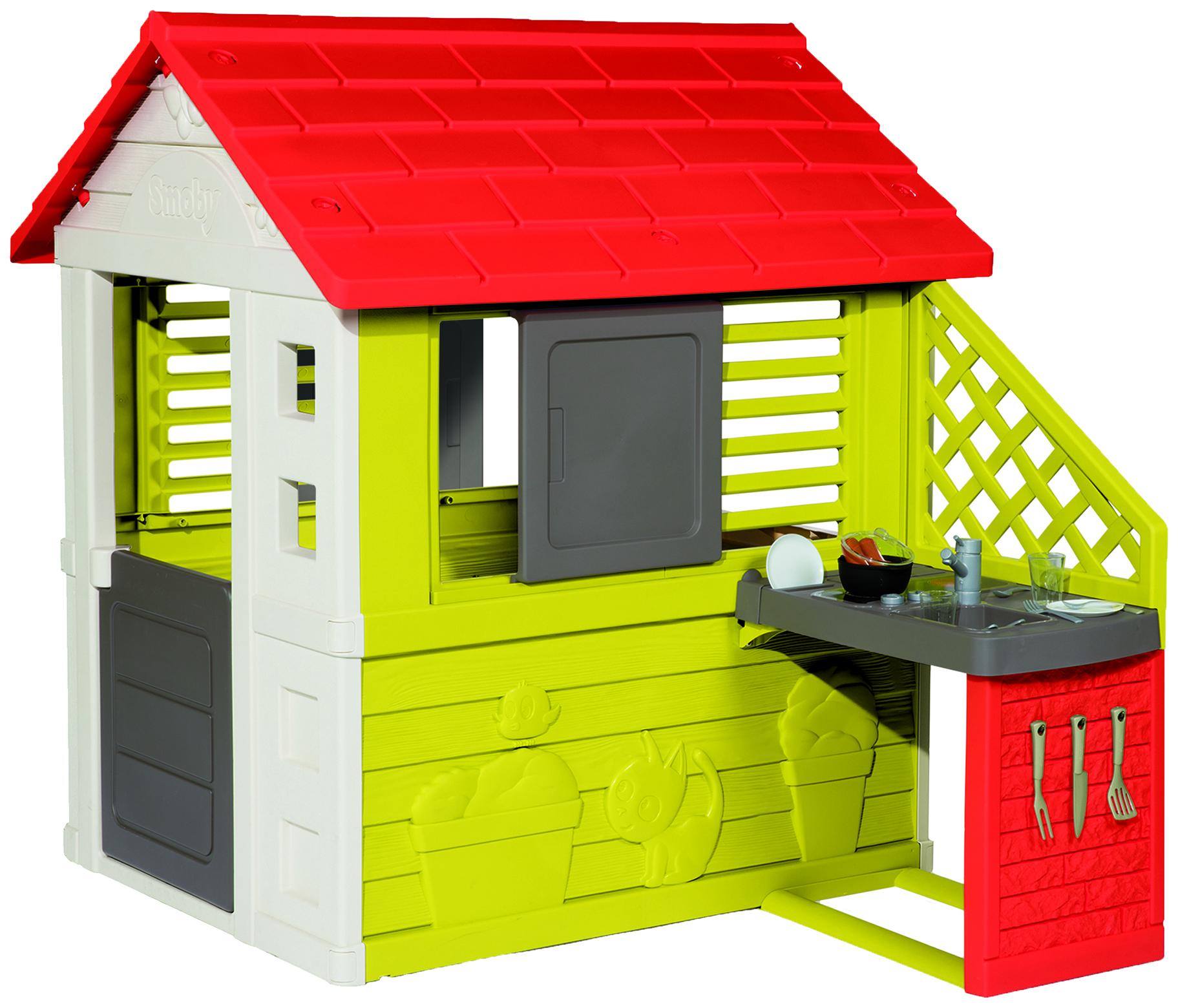 Купить Игровой домик с кухней красный 145*110*127см 1/1, Smoby, Игровые домики