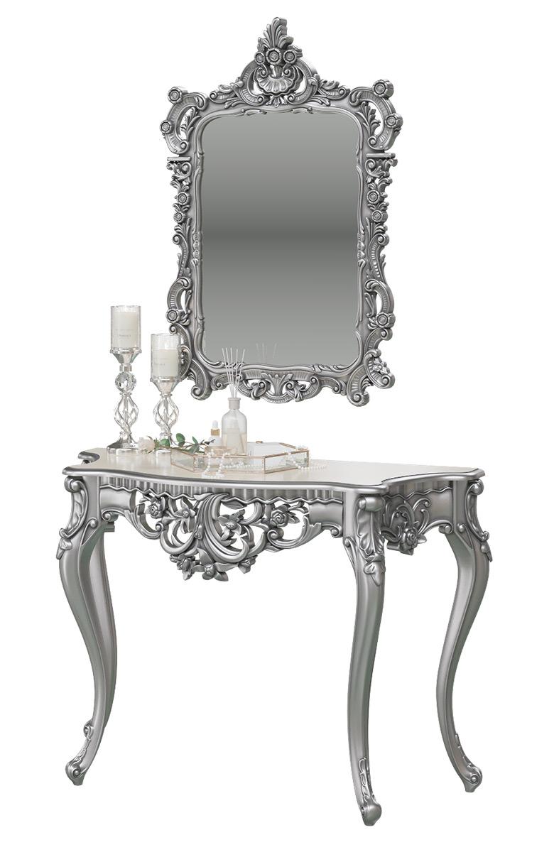 Туалетный столик с зеркалом Мэри-Мебель КН-01+ЗК-01, серебро, 122х48х82/70х8х106 см фото