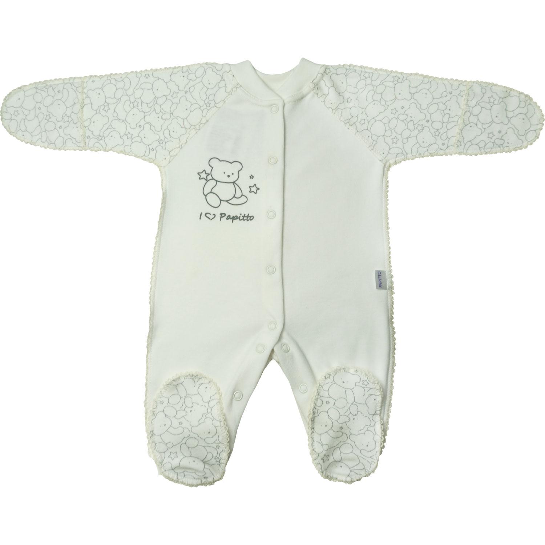 Купить 725-01, Комбинезон папитто верные друзья медвежонок, экрю р.20-62, Папитто, Трикотажные комбинезоны для новорожденных