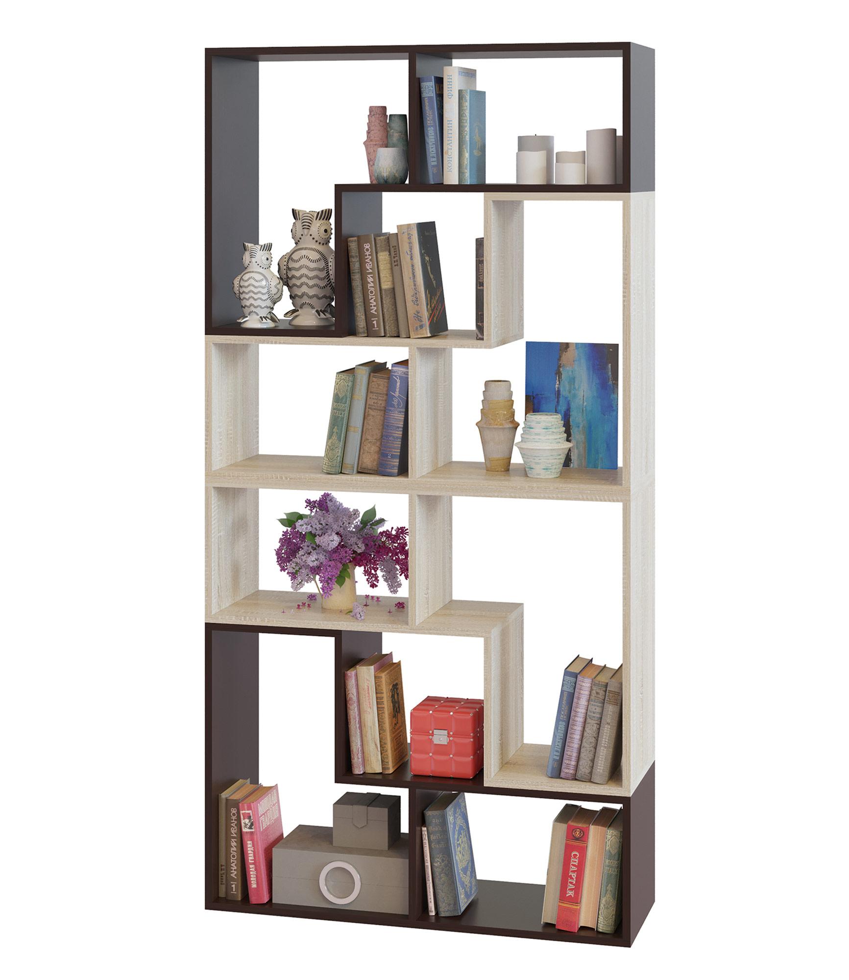 Стеллаж Сокол ПК-94, цвет венге/дуб сонома, ШхГхВ 90х30х180 см. или 120х30х180 см.