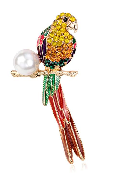 Брошь женская ViviTrend Попугай 60581 разноцветная фото