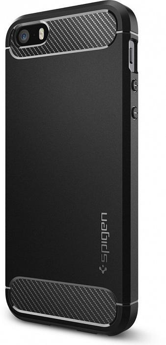 Чехол Spigen Rugged Armor (041CS20167) для iPhone 5/5S/SE (Black)