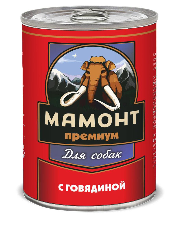 Консервы для собак Мамонт, фарш из говядины, 340г
