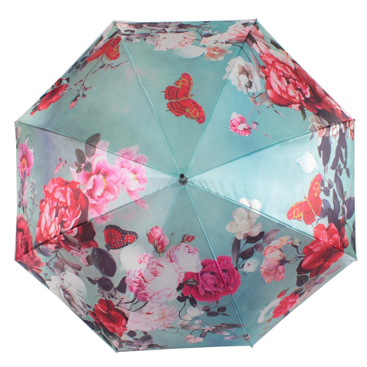 Зонт-трость женский полуавтоматический Flioraj 061216 FJ зеленый