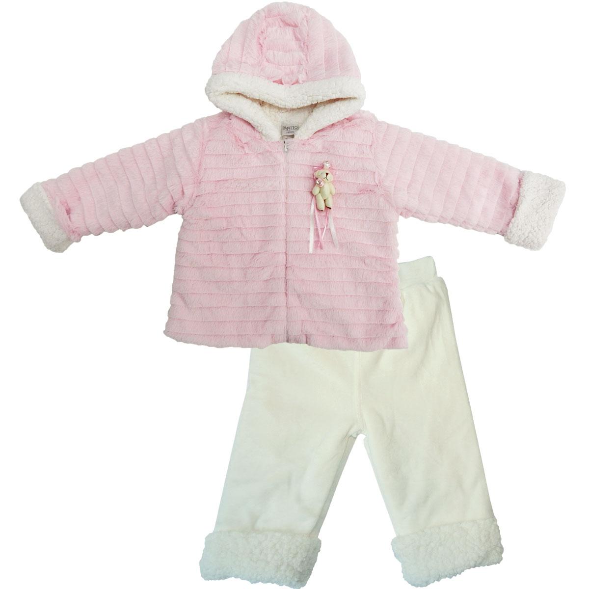 Купить Комплект детский утепленный 2 пр. Папитто розовый/экрю 53-5023-1 р.22-74, Комплекты для новорожденных