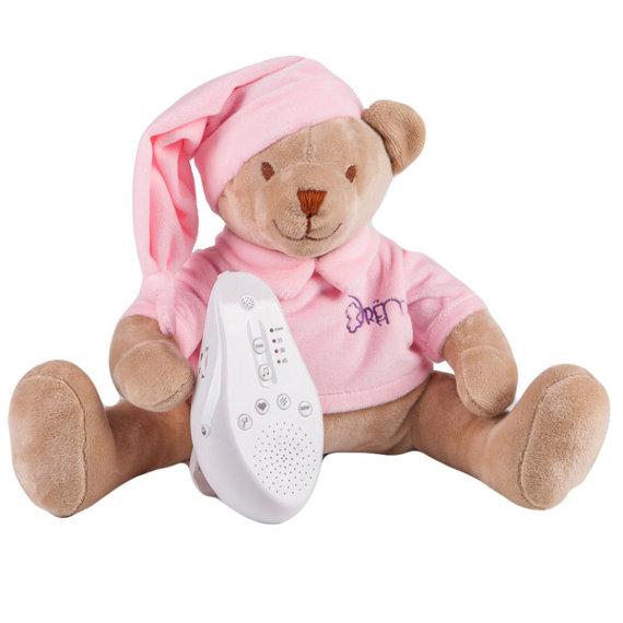 Купить Игрушка-комфортер Мишка DrЁma BabyDou для сна, с белым и розовым шумом, розовый 103, Drёma babydou, Комфортеры для новорожденных