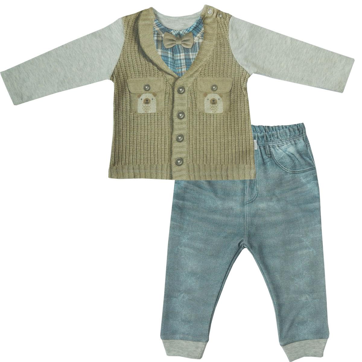 Купить Комплект одежды Папитто для мальчика Fashion Jeans 584-05 серый/синий р.22-74, Комплекты для новорожденных