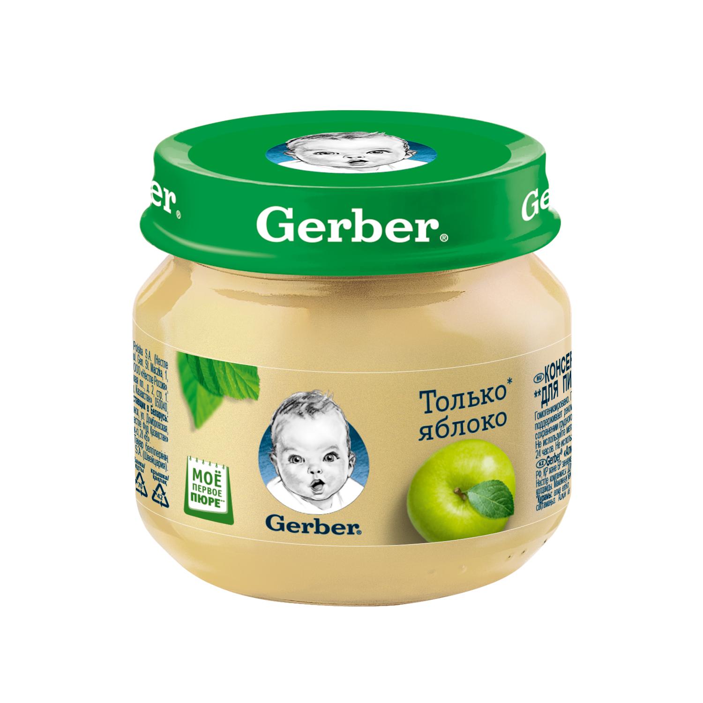Купить Пюре фруктовое Gerber Яблоко с 4 мес 80 г, Фруктовое пюре