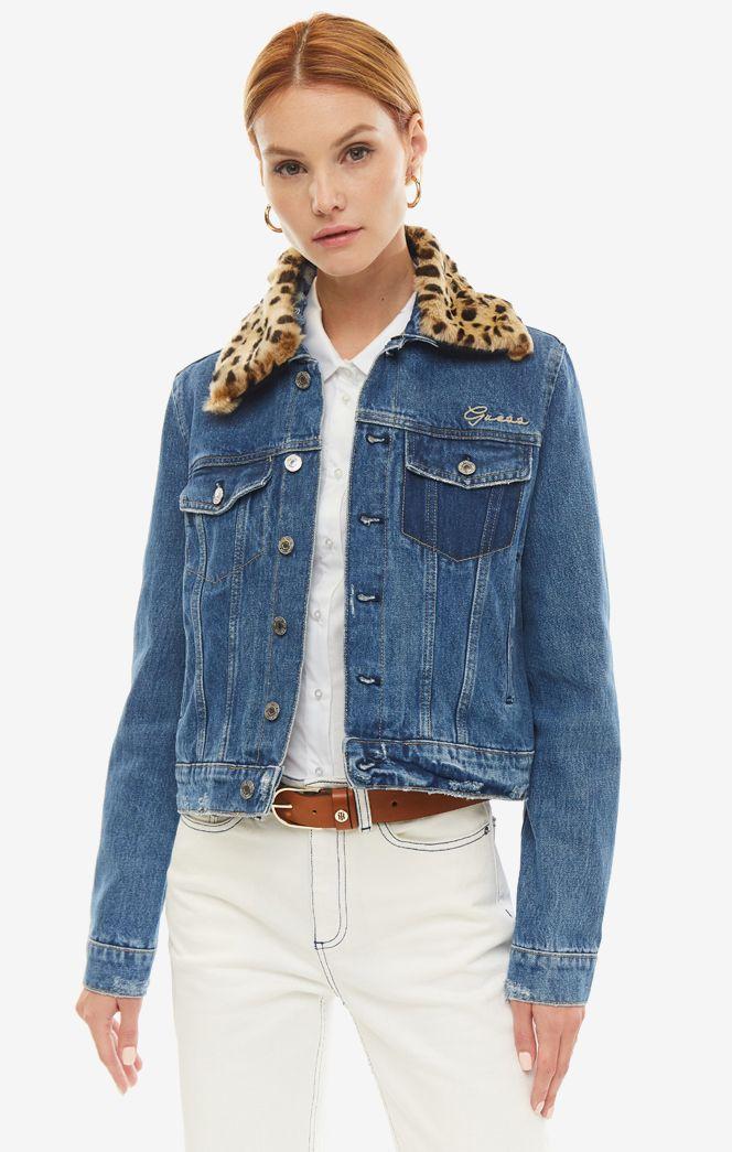 Джинсовая куртка женская Guess W93N55-D3P30-MIZW синяя/бежевая XS
