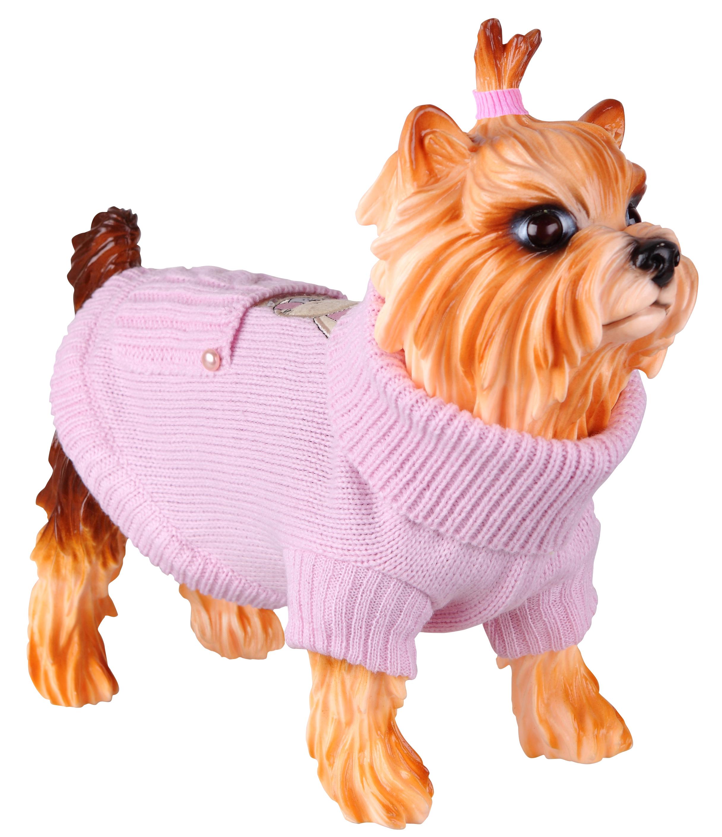 Свитер для собак DEZZIE размер M унисекс, розовый, длина спины 35 см фото