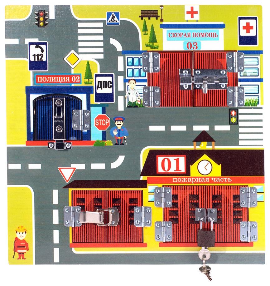 Развивающая игрушка Бэмби Бизиборд Замочки Экстренные Службы 7821