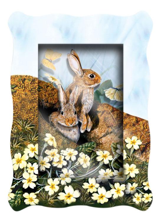 Аппликация из картона Vizzle Объемная картинка mini - Зайцы весной