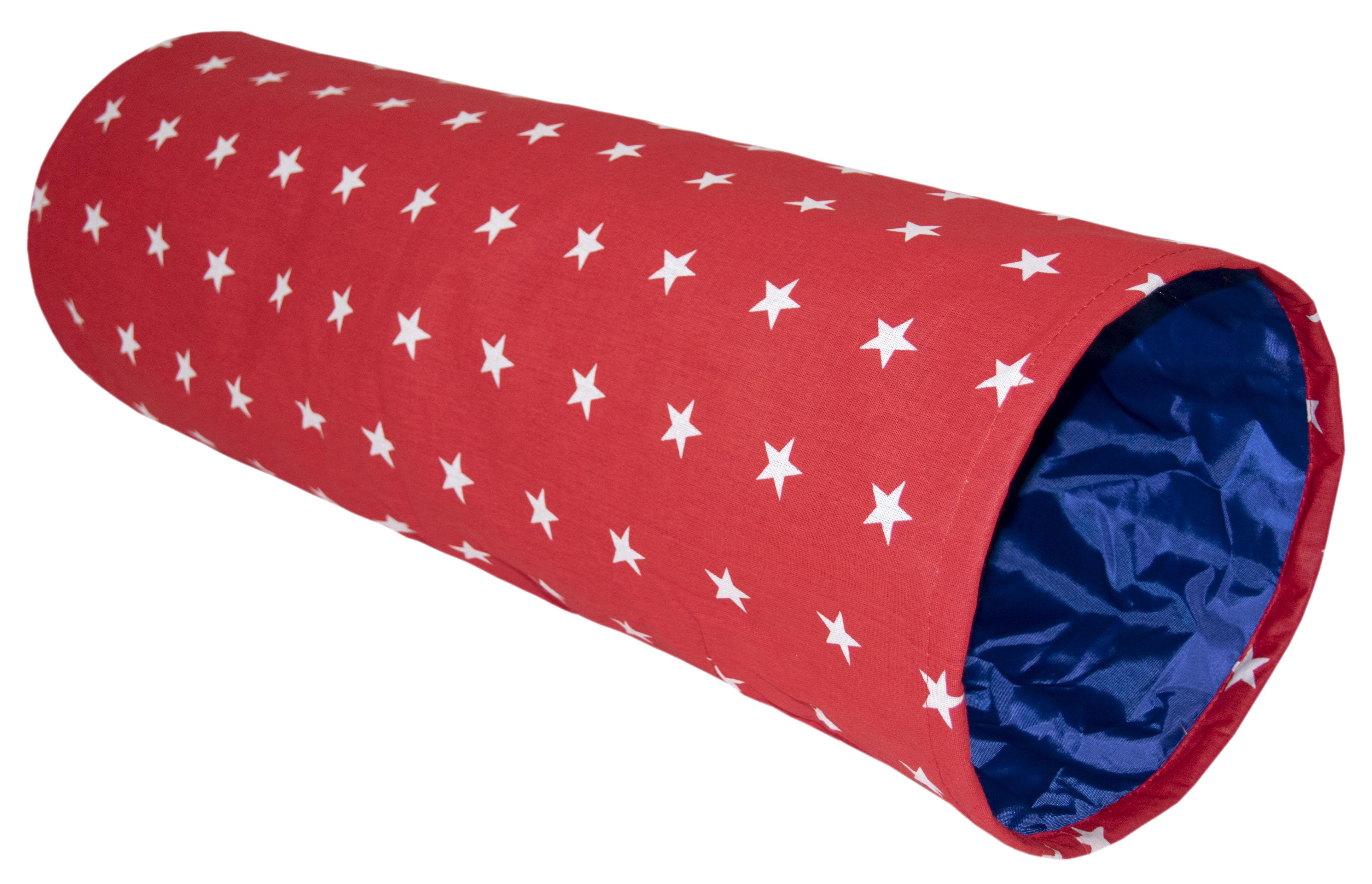 Туннель для кошек Великий Кот Звездочка, с шуршащим элементом, красный, 22х22х65см