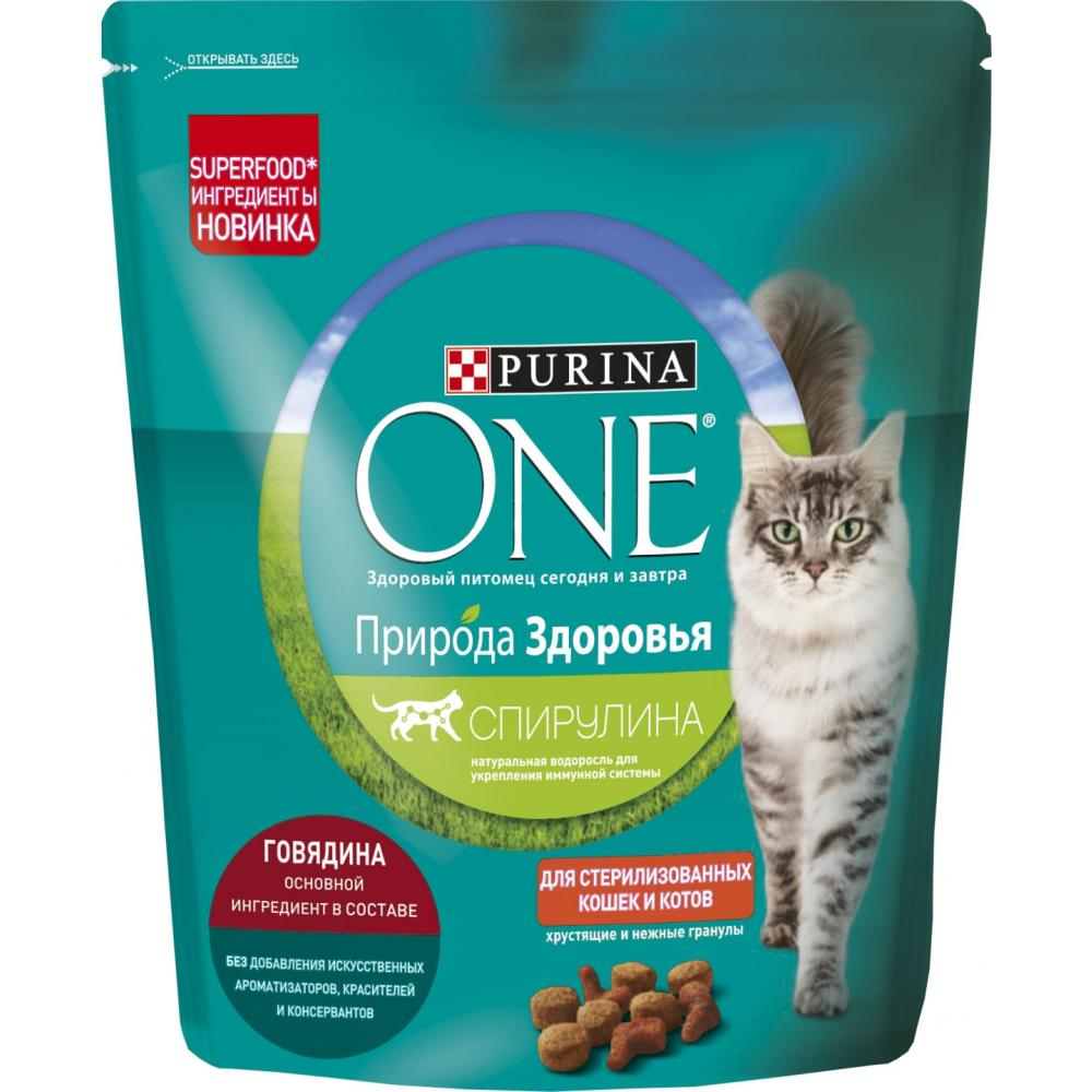 Сухой корм для кошек Purina One Природа здоровья, для стерилизованных, говядина, 680 г