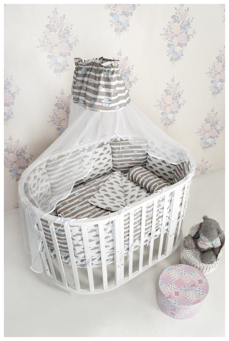 Комплект в кроватку AmaroBaby Радуга 18 предметов (6+12 подушек-бортиков) бязь, серый