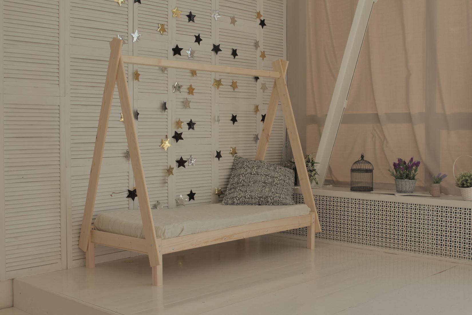 Детская кровать-домик Green Mebel Вигвам Натуральный, 700 Х 1600 мм