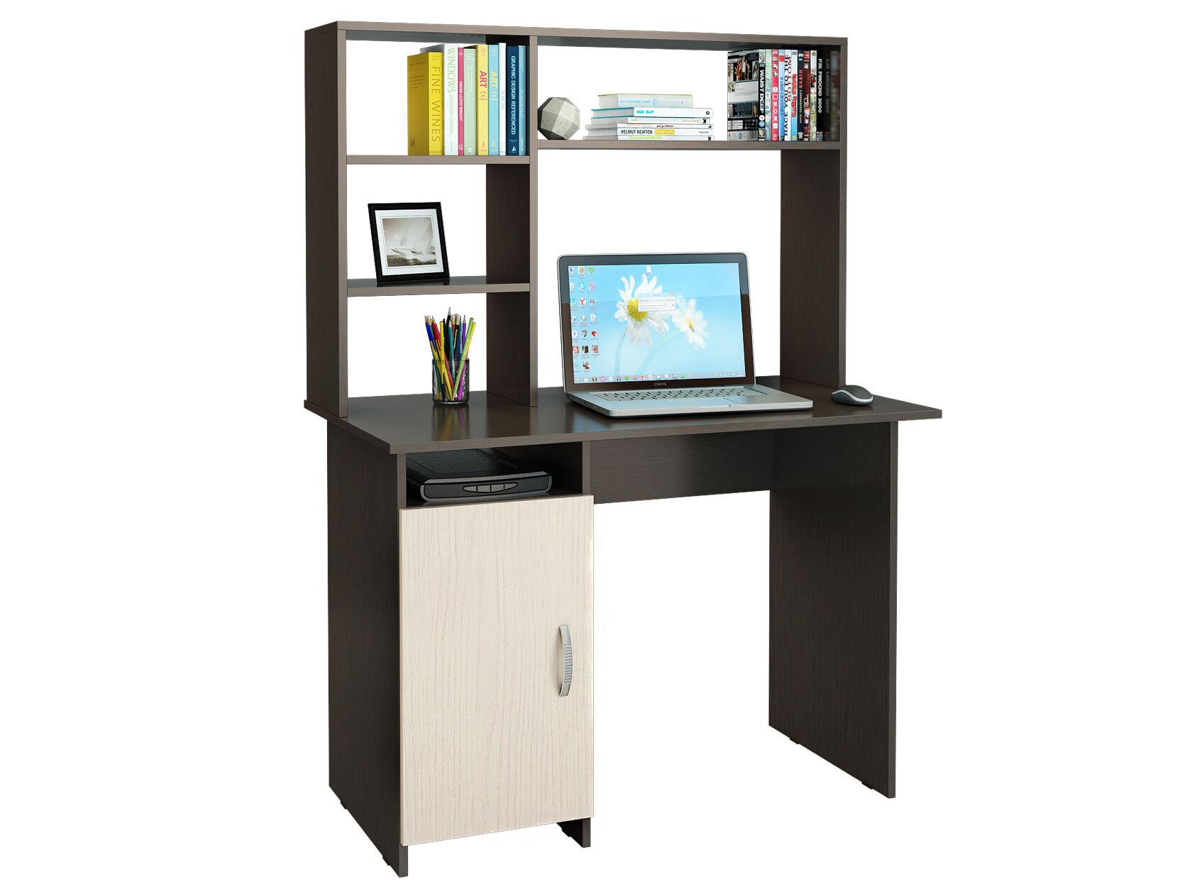 Компьютерный стол МФ Мастер Милан-8 110x60x145, венге/дуб молочный фото