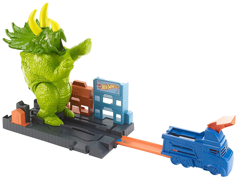 Купить Mattel Hot Wheels GBF97 Хот Вилс Сити Игровой набор Разгневанный трицератопс, NoBrand, Игровые наборы