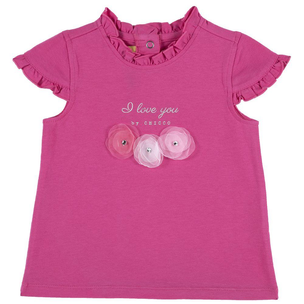 Купить 9006640, Футболка Chicco размер 92, цветы I love you розовый, Кофточки, футболки для новорожденных