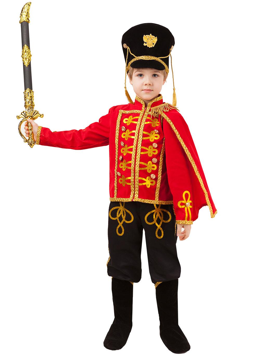 Карнавальный костюм Батик Гусар, цв. красный; черный