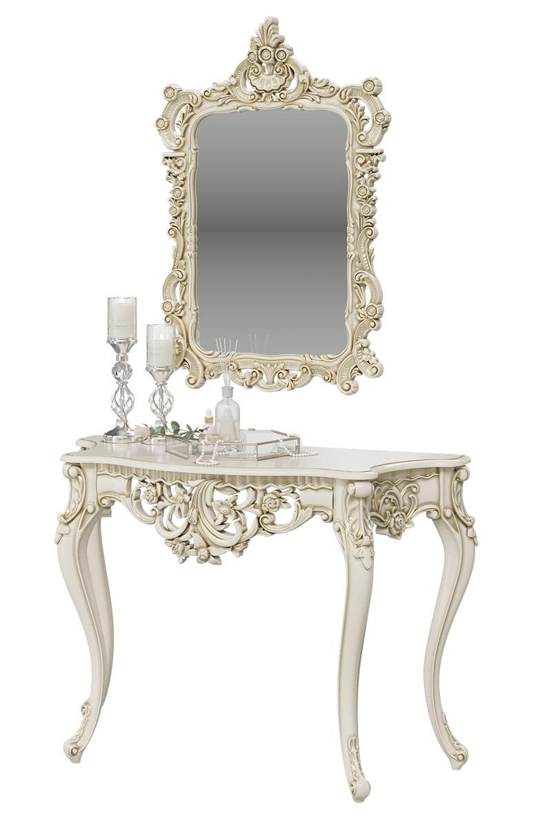 Туалетный столик с зеркалом Мэри-Мебель КН-01+ЗК-01, слоновая кость, 122х48х82/70х8х106 см фото