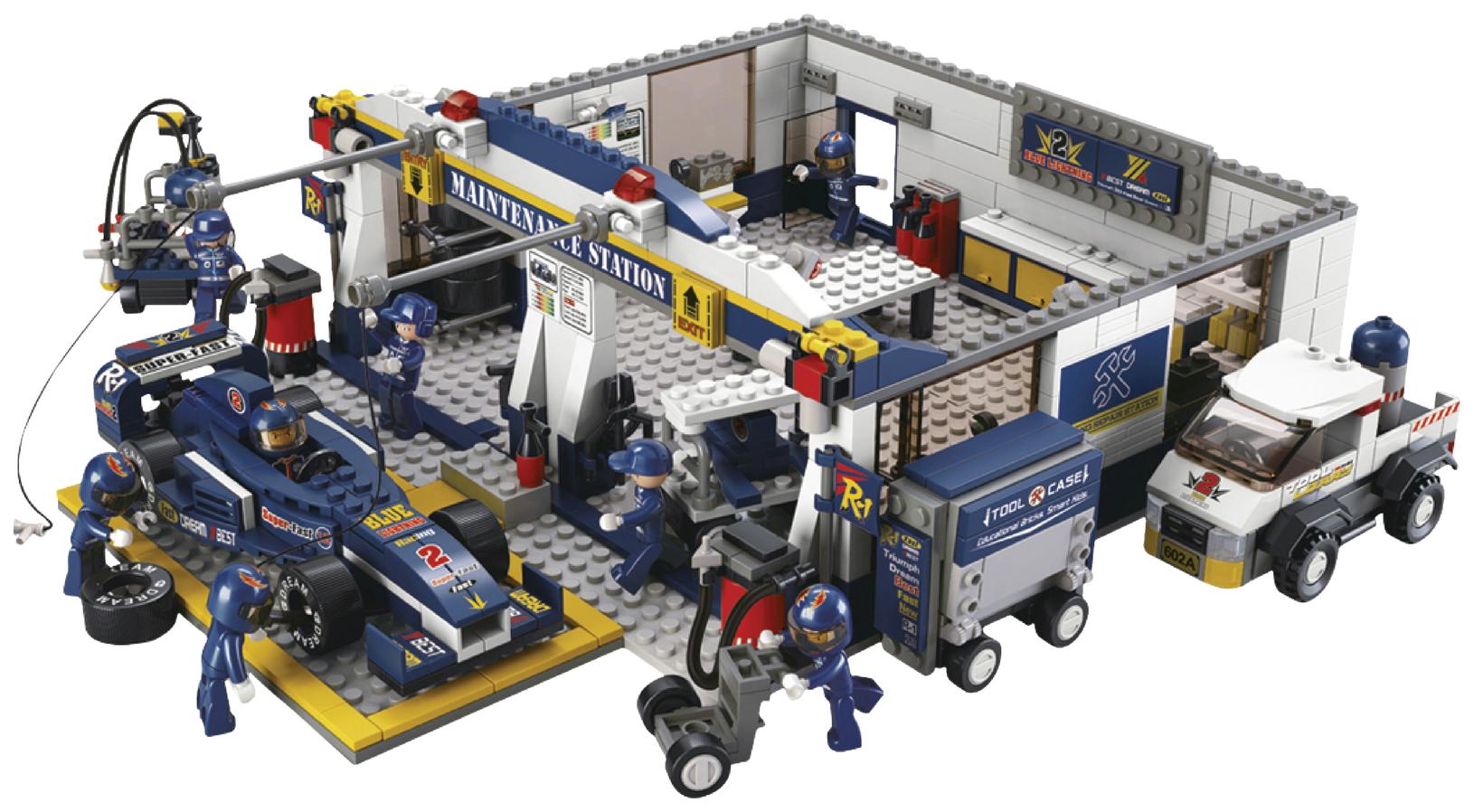 Купить Конструктор пластиковый SLUBAN Станция обслуживания 741 элемент M38-B0356,