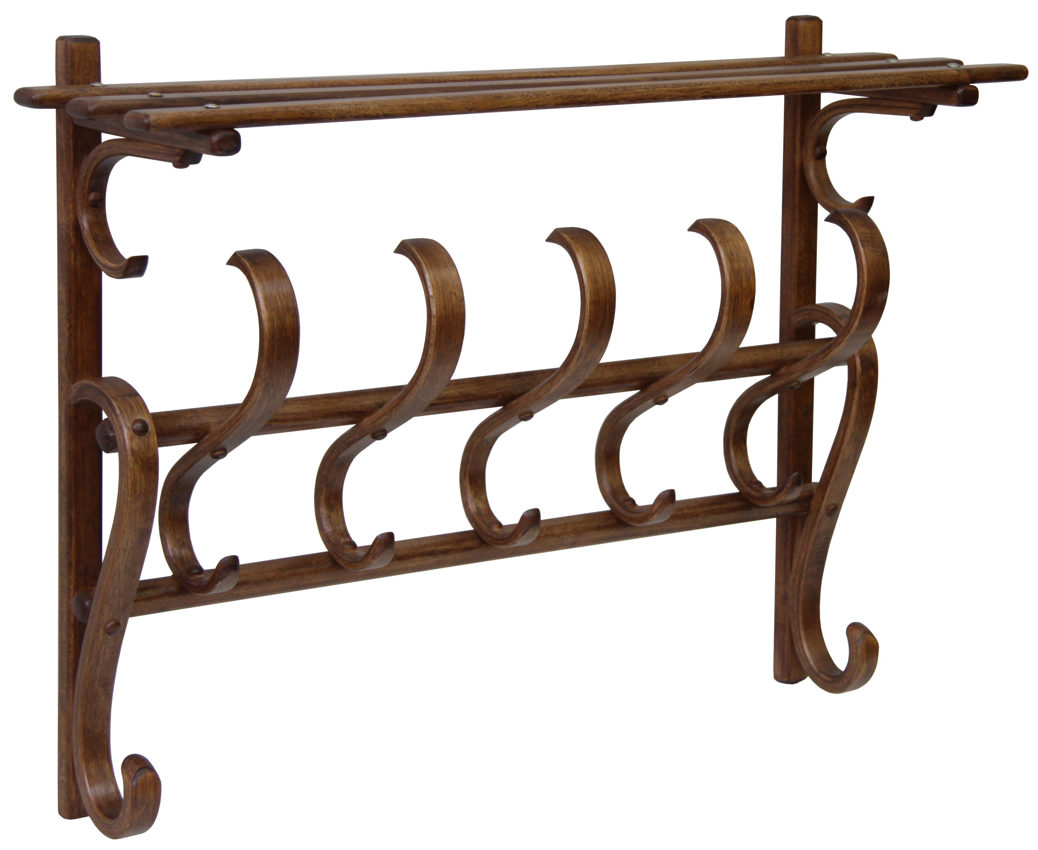 Вешалка настенная Мебелик В 7Н Средне коричневый