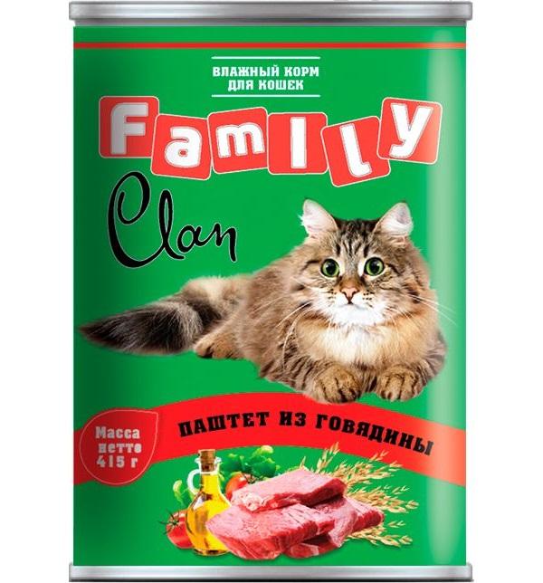 Консервы для кошек Clan Family, говядина, 415г фото