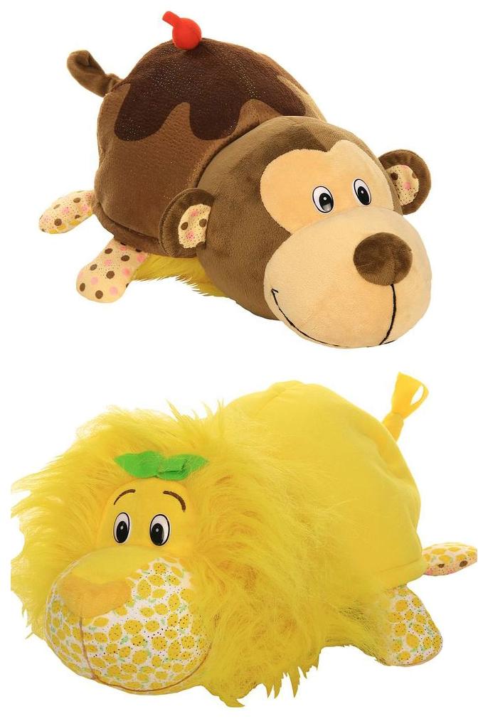 Купить Игрушка-вывернушка 1 TOY Ням-Ням Лев-Мартышка с ароматом Лимон-Молочного коктейля 40 см, Мягкие игрушки животные