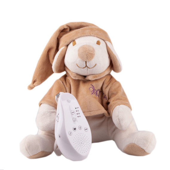 Купить Игрушка-комфортер Собачка DrЁma BabyDou для сна, с белым и розовым шумом, бежевый, Drёma babydou, Комфортеры для новорожденных