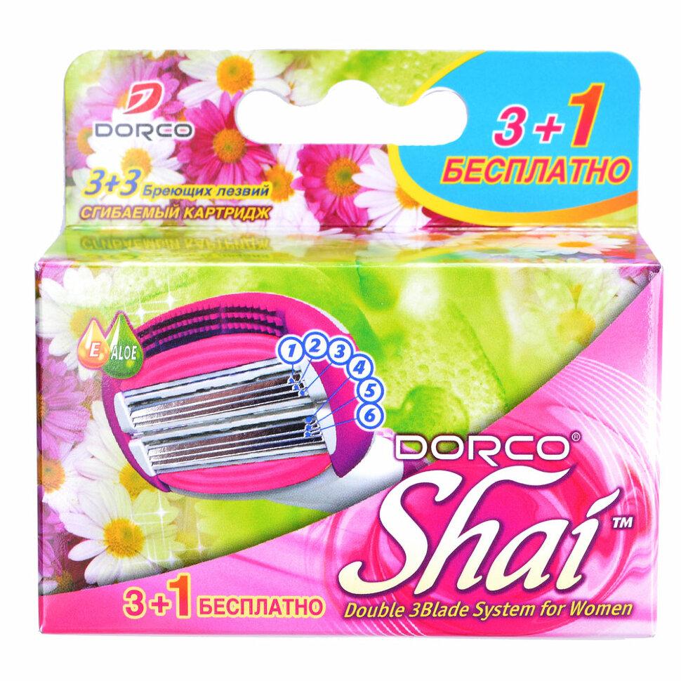 Сменные кассеты DORCO SHAI 4 кассеты 6 лезвий на двойной сгибаемой головке.
