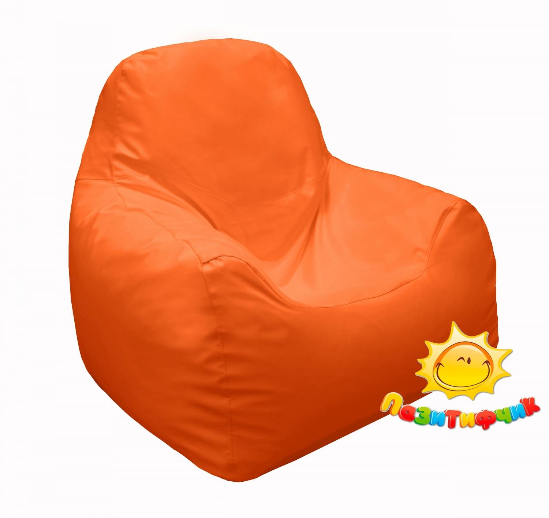 Кресло-мешок Pazitif Пазитифчик, размер M, экокожа, оранжевый