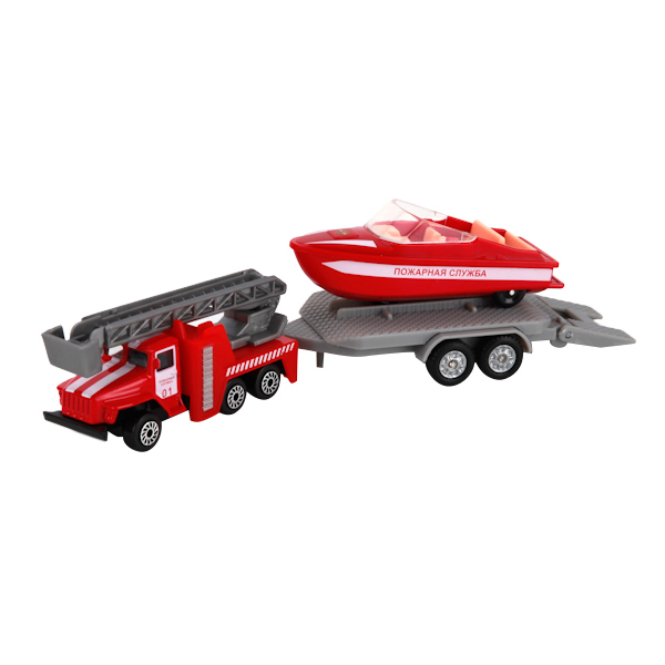 Набор Технопарк пожарная служба, металл. УРАЛ с лодкой на прицепе фото
