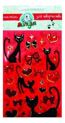 Купить Кошки и сердца, Наклейка декоративная для детской комнаты Большие Гелевые Наклейки Кошки И Сердца, Липуня, Аксессуары для детской комнаты