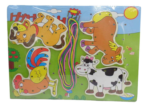 "картинка Шнуровка JUN ""Животные на ферме"" от магазина Bebikam.ru"