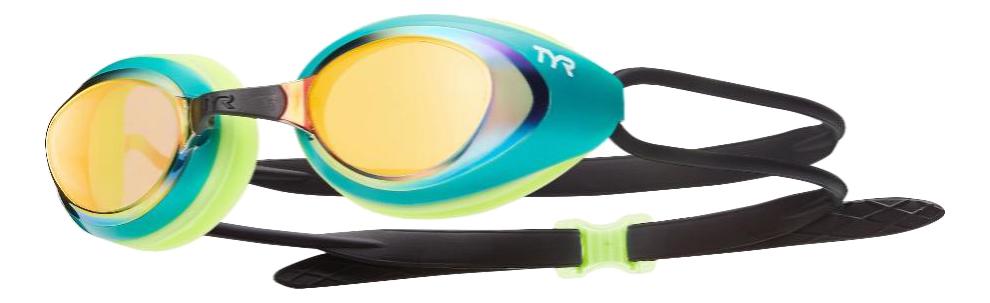 Очки для плавания TYR Black Hawk Racing Mirrored черные/зеленые/золотистые (298) фото