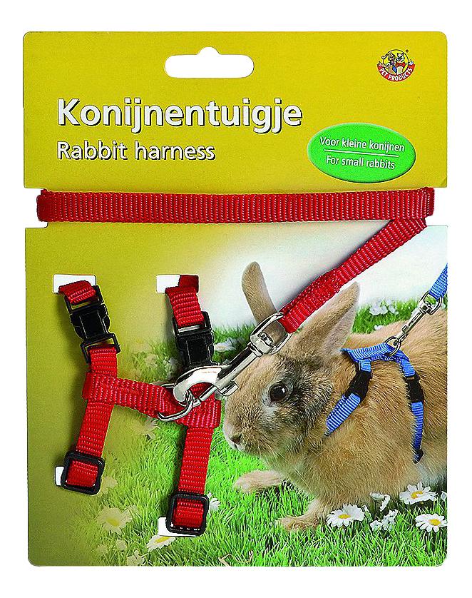 Поводок и шлейка Beeztees для кроликов, красный