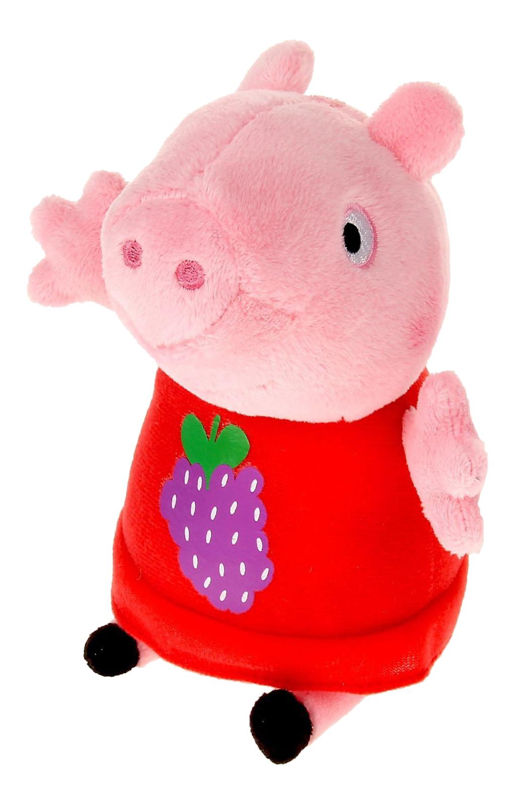 Купить Пеппа с виноградом, Мягкая игрушка Peppa Pig Пеппа с виноградом, Росмэн, Мягкие игрушки персонажи